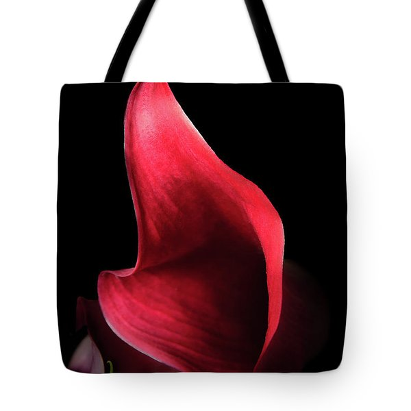 Red Passion On Black Tote Bag