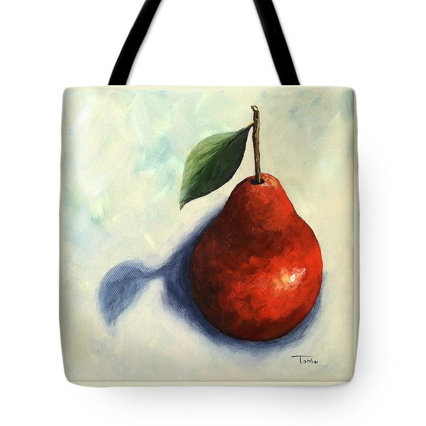 Red Pear In The Spotlight Tote Bag