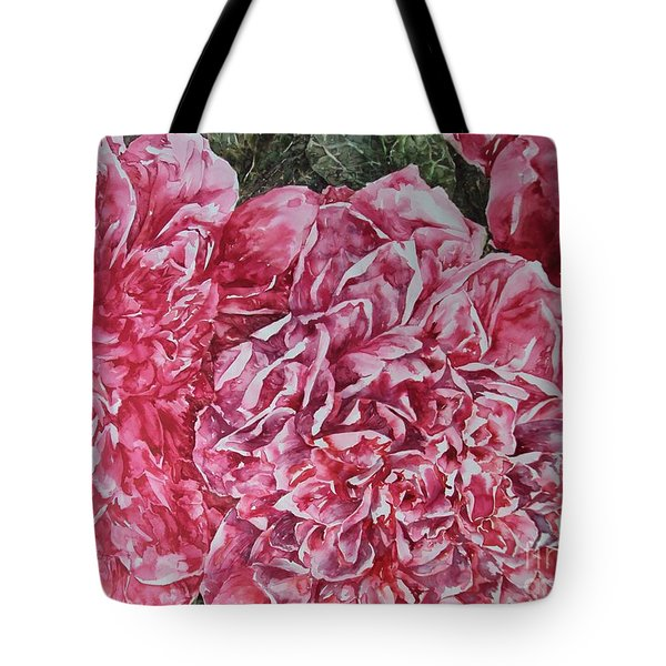 Red Peonies Tote Bag