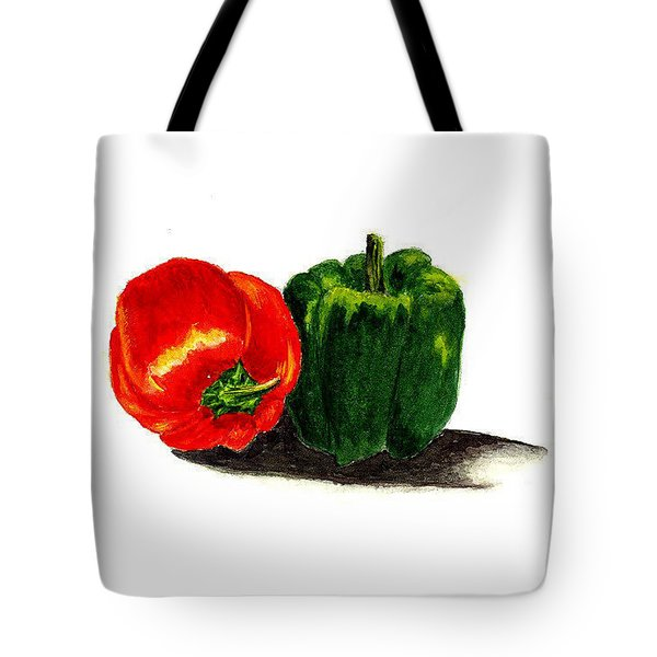 Red Pepper And Green Pepper Tote Bag by Michael Vigliotti