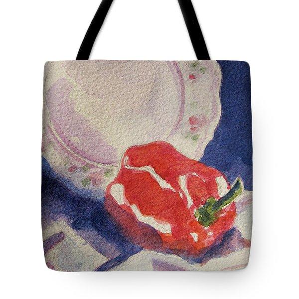 Red Pepper Tote Bag by Marsha Elliott