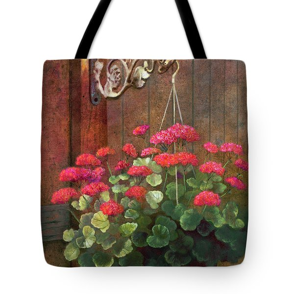 Tote Bag featuring the painting Red Petals Geraniums by Nancy Lee Moran