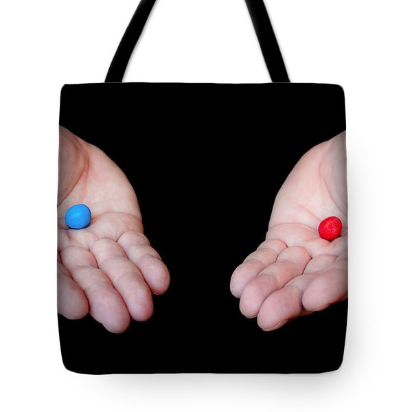 Red Pill Blue Pill Tote Bag by Semmick Photo