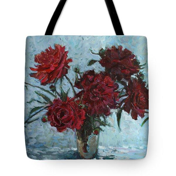 Red Piones Tote Bag