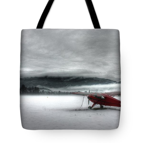 Red Plane In A Monochrome World Tote Bag