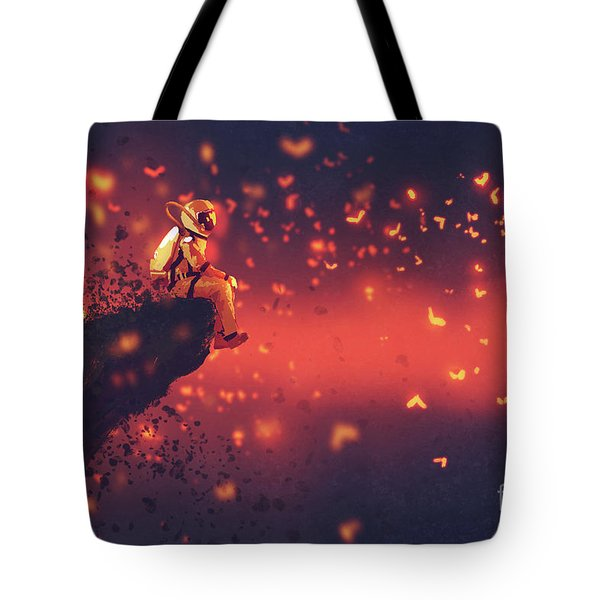 Tote Bag featuring the painting Red Planet by Tithi Luadthong