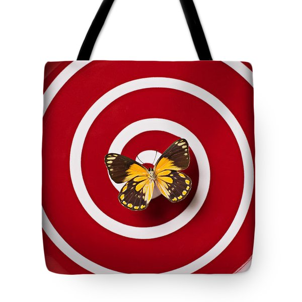 Red Plate And Yellow Black Butterfly Tote Bag