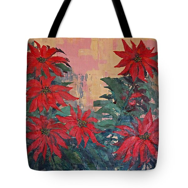 Red Poinsettias By George Wood Tote Bag