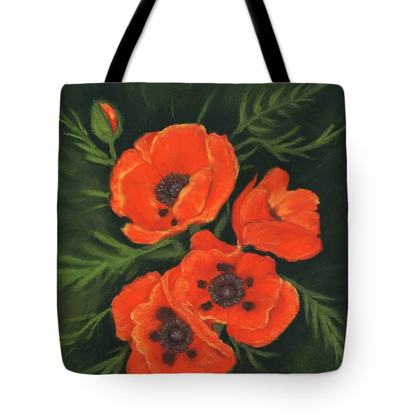 Tote Bag featuring the painting Red Poppies by Anastasiya Malakhova