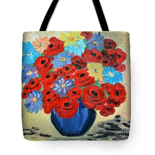 Red Poppies And All Kinds Of Daisies  Tote Bag