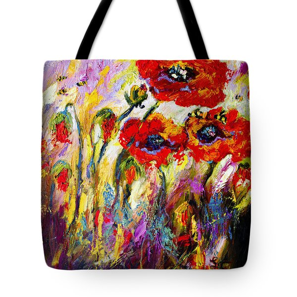 Tote Bag featuring the painting Red Poppies And Bees Provence Dreams by Ginette Callaway