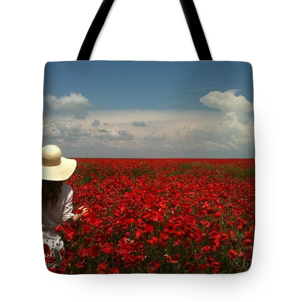 Red Poppies And Lady Tote Bag