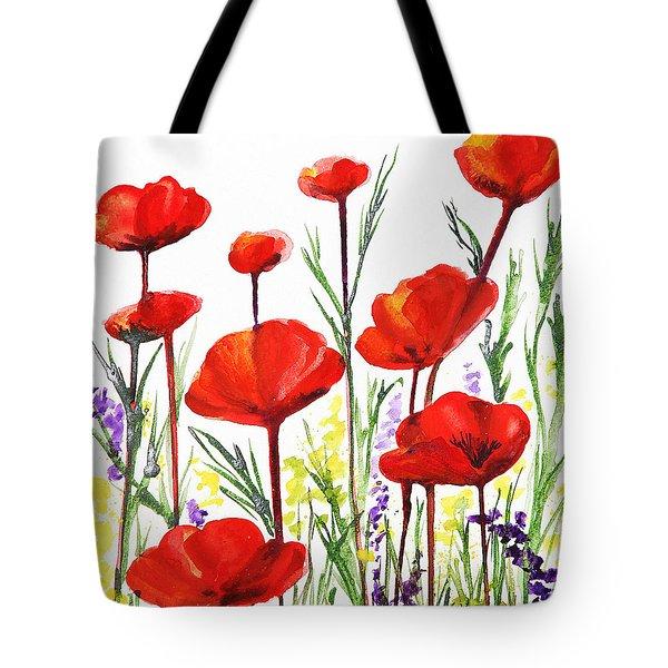 Tote Bag featuring the painting Red Poppies Art By Irina Sztukowski by Irina Sztukowski