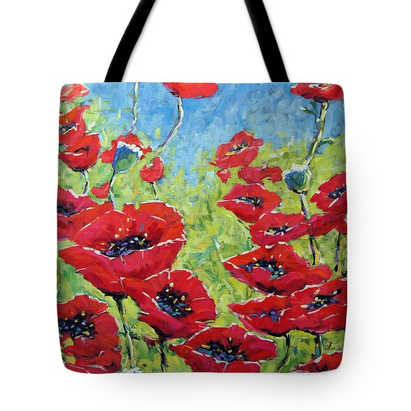 Red Poppies By Prankearts Tote Bag by Richard T Pranke