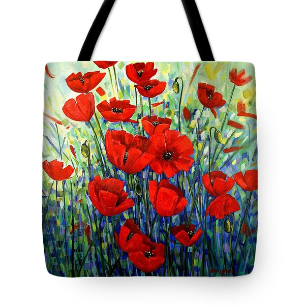 Red Poppies Tote Bag by Georgia  Mansur