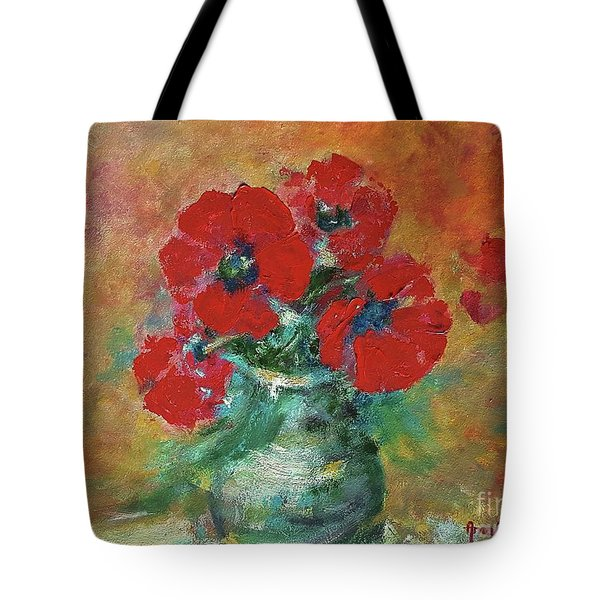 Red Poppies In A Vase Tote Bag