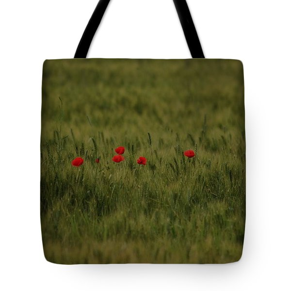 Red Poppies In Meadow Tote Bag
