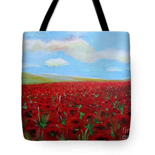 Red Poppies In Remembrance Tote Bag