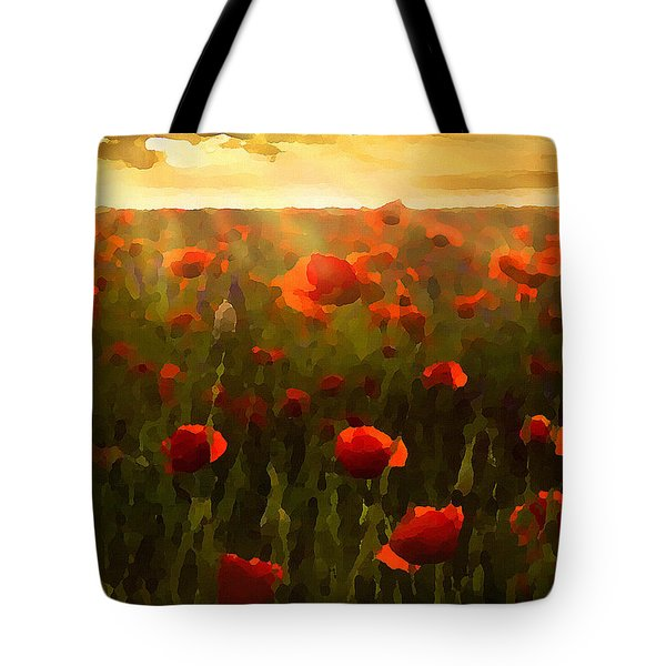 Red Poppies In The Sun Tote Bag