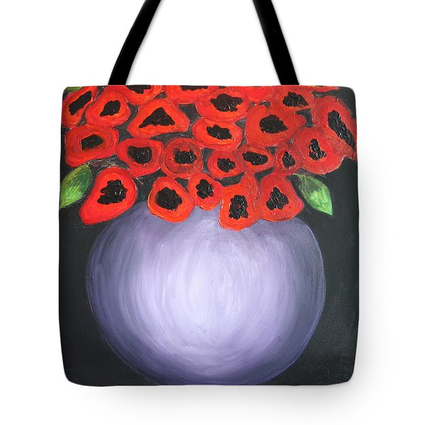Tote Bag featuring the painting Red Poppies  by Jolanta Anna Karolska