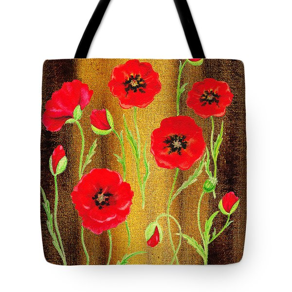 Red Poppies Warm Collage Tote Bag