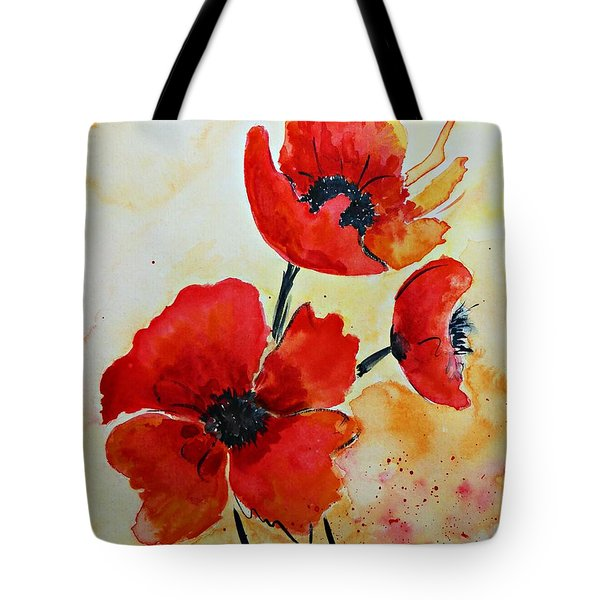 Tote Bag featuring the painting Red Poppies Watercolor by AmaS Art