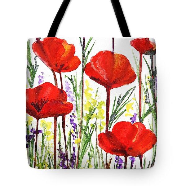 Tote Bag featuring the painting Red Poppies Watercolor By Irina Sztukowski by Irina Sztukowski