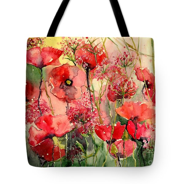 Red Poppies Wearing Pink Tote Bag