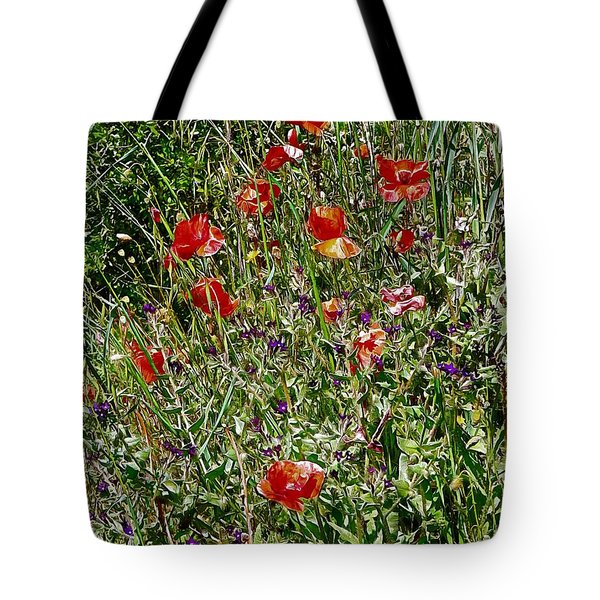 Red Poppies With Purple Wildflowers Tote Bag