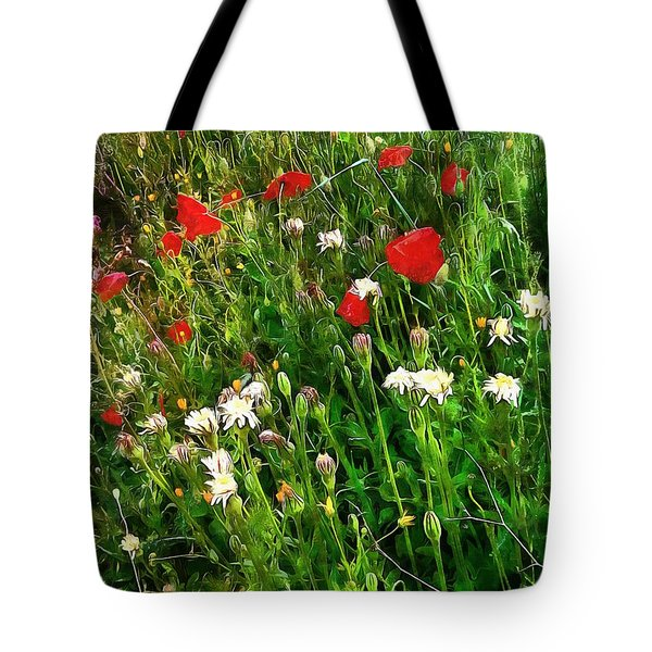 Red Poppy And Wildflower Fantasy Tote Bag