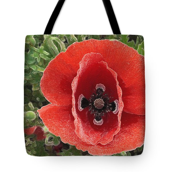 Tote Bag featuring the photograph Red Poppy Flower 2 by Jean Bernard Roussilhe