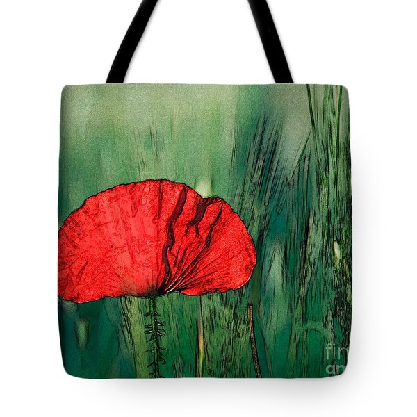 Tote Bag featuring the photograph Red Poppy Flower by Jean Bernard Roussilhe