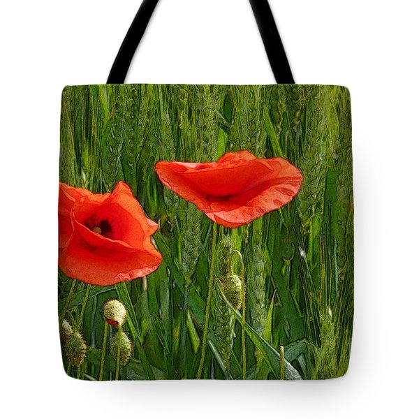 Red Poppy Flowers In Grassland 2 Tote Bag