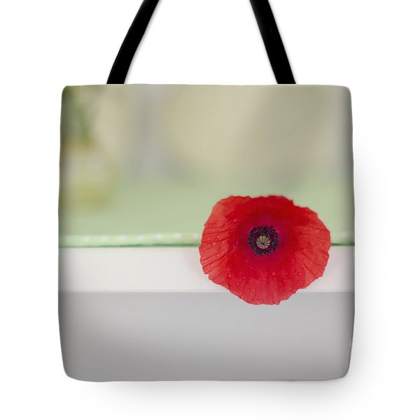 Red Poppy On Windowsill Tote Bag
