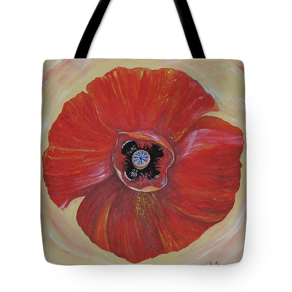 Red Poppy Tote Bag by Rita Fetisov