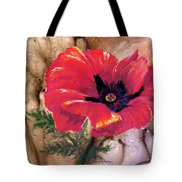 Tote Bag featuring the painting Red Poppy by Sherry Shipley