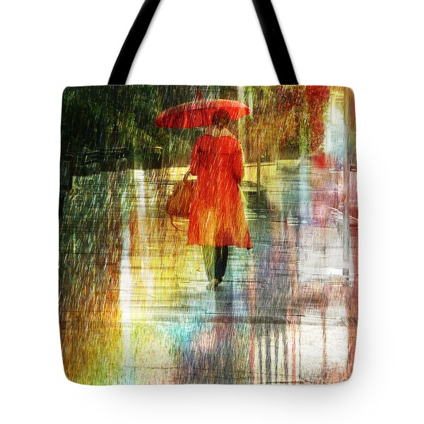 Red Rain Day Tote Bag