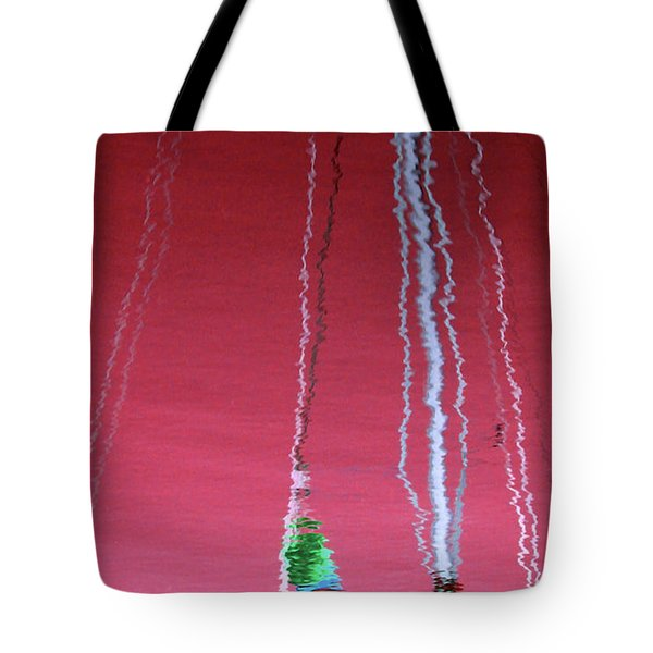 Red Reflection On Water Tote Bag by Emanuel Tanjala