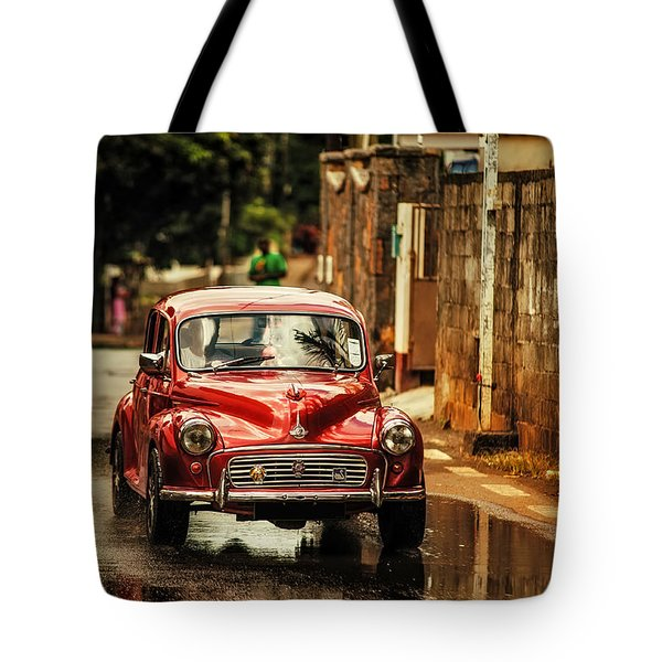 Red Retromobile. Morris Minor Tote Bag