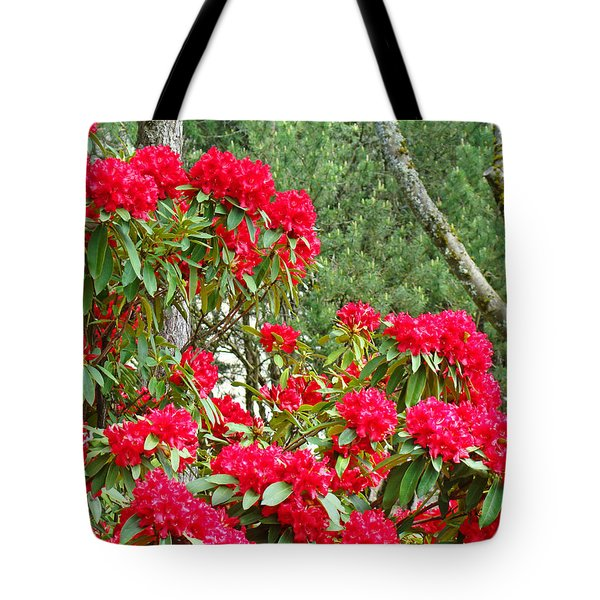 Red Rhododendron Garden Art Prints Rhodies Landscape Baslee Troutman Tote Bag by Baslee Troutman