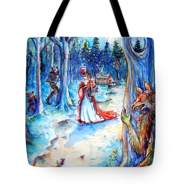 Tote Bag featuring the painting Red Riding Hood And Werewolves by Heather Calderon