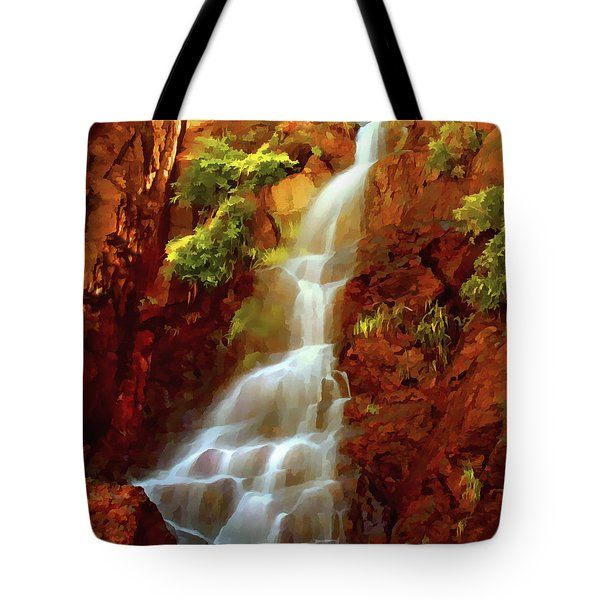 Tote Bag featuring the painting Red River Falls by Peter Piatt