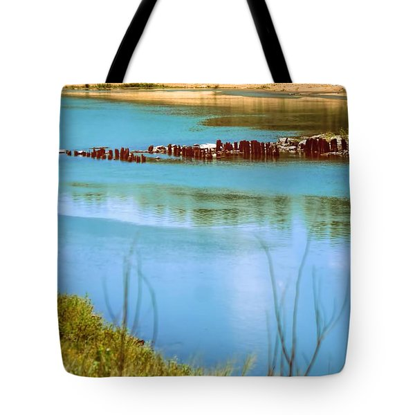 Tote Bag featuring the photograph Red River Crossing Old Bridge by Diana Mary Sharpton