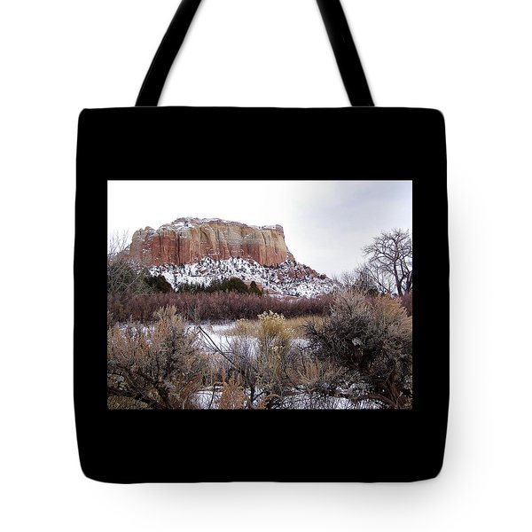 Red Rock Butte In Snow Tote Bag