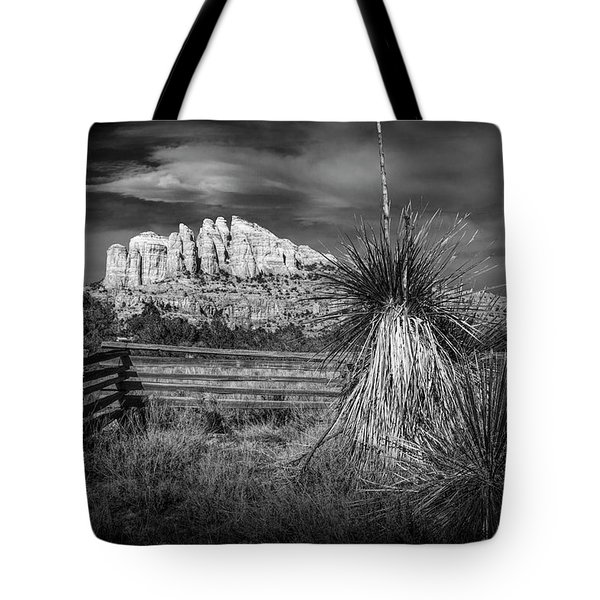 Tote Bag featuring the photograph Red Rock Formation In Sedona Arizona In Black And White by Randall Nyhof