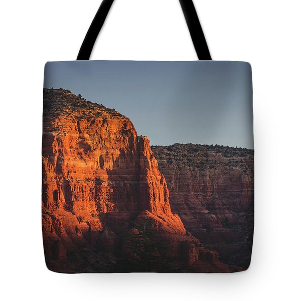Tote Bag featuring the photograph Red Rock Formations At Sunrise by Andy Konieczny