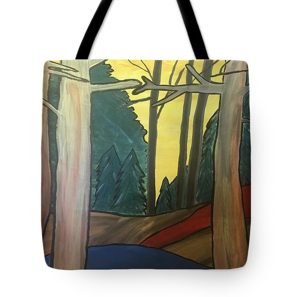 Red Rock In Woods Tote Bag