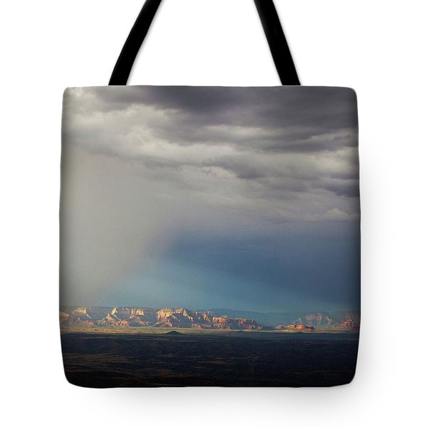 Tote Bag featuring the photograph Red Rock Monsoon by Ron Chilston