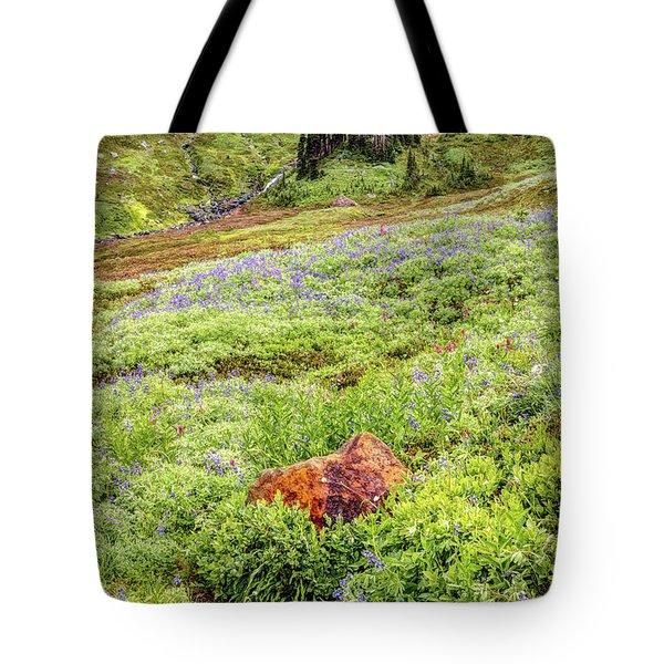 Red Rock Of Rainier Tote Bag
