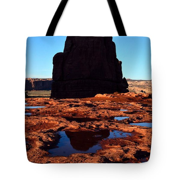 Red Rock Reflection At Sunset Tote Bag